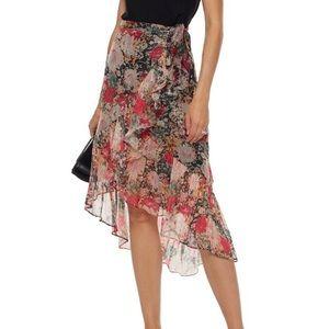 Metallic wrap floral skirt